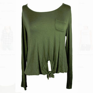 Rebellious One Juniors Olive Tie‑front Knit Top